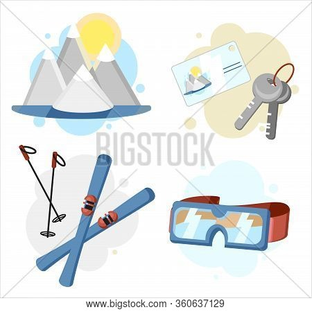 Ski Resort Icons Set. Equipment For Skiing Or Winter Travel On Holidays Or Weekend. Snow, Sky, Ski A