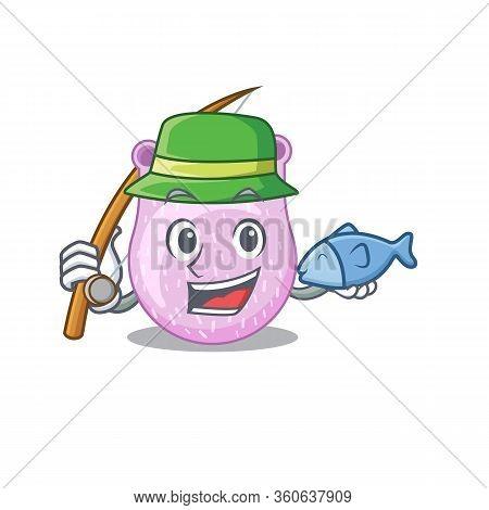 Cartoon Design Concept Of Viridans Streptococci While Fishing