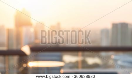 Summer Sun Blur Golden Hour Sky Sunset With City Rooftop View  Background Cityscape Office Building