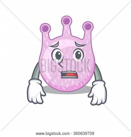 Cartoon Design Style Of Viridans Streptococci Showing Worried Face