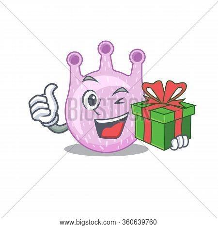 Smiling Viridans Streptococci Cartoon Character Having A Green Gift Box
