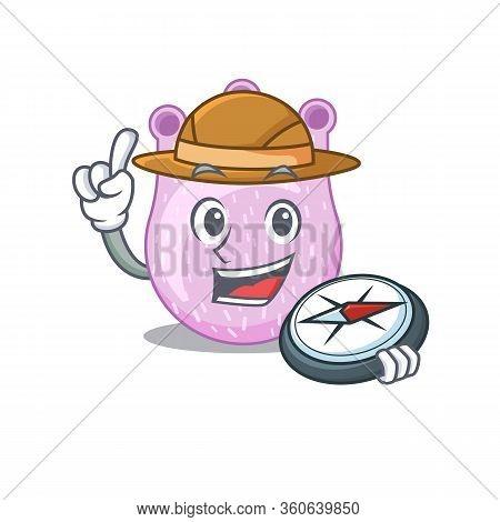 Mascot Design Concept Of Viridans Streptococci Explorer With A Compass
