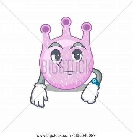Mascot Design Of Viridans Streptococci Showing Waiting Gesture