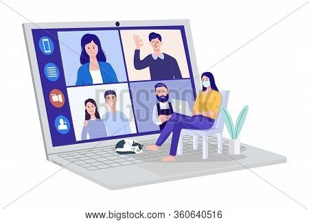 Video Conferencing At Home, Woman Having Video Call Meeting With Clients At Home. Vector