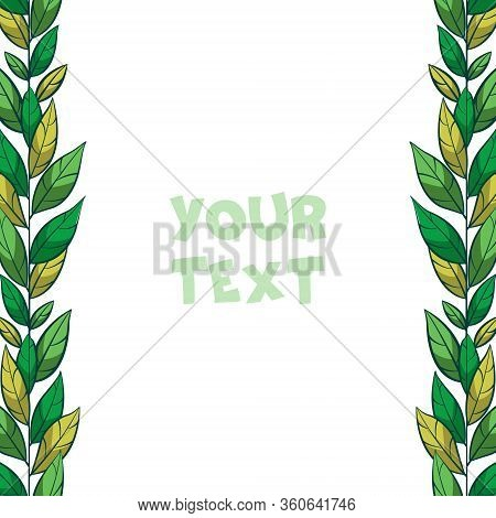 Vector Floral Borders; Vertical Foliate Borders For Greeting Cards, Invitations, Wedding Cards, Post