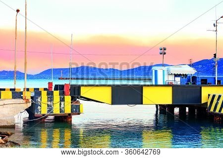 An Automobile And Pedestrian Submersible Bridge Over The Corinth Canal In Greece In The Position Abo