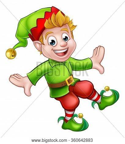 A Cute Christmas Elf Pixie Santa Helper Cartoon Character