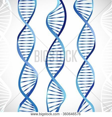 Creative Metallic Dna Symbol. Blue Color Image, Scheme Of Dna Molecule. Gmo Logotype Concept. Patter