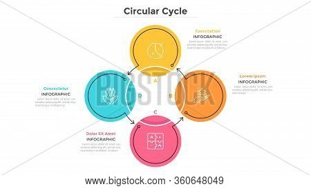 Round Cyclical Chart With 4 Colorful Circular Elements Connected By Arrows. Business Cycle With Four