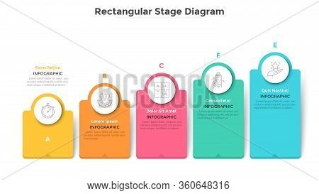Bar Chart With 5 Colorful Rectangular Elements Or Columns. Ascending Trend With Five Stages, Busines