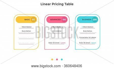 Rectangular Linear Pricing Tables With Description Of Features Or List Of Included Options. Subscrip