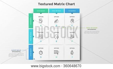 Square Matrix Chart Or Table. Nine Paper White Rectangular Elements With Thin Line Icons And Letters