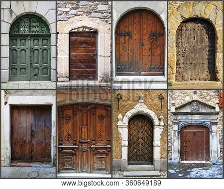 Colorful Wooden Door From An European Country. Old, Picturesque And Ancient Door. Collage. Compositi