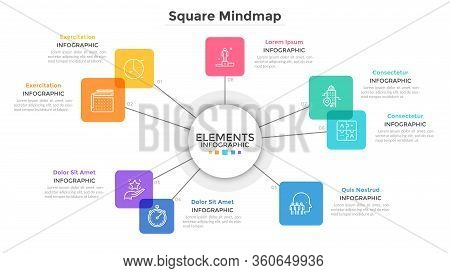 Mind Map Chart With 8 Colorful Translucent Square Elements. Creative Infographic Design Template. Fl