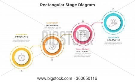Ascending Chart With 4 Connected Colorful Round Elements. Concept Of Four Steps Of Progressive Busin