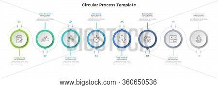 Eight Paper White Circular Elements Arranged In Horizontal. Concept Of 8 Steps Project Progress And