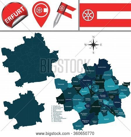 Vector Map Of Erfurt, Germany With Named Districts And Travel Icons