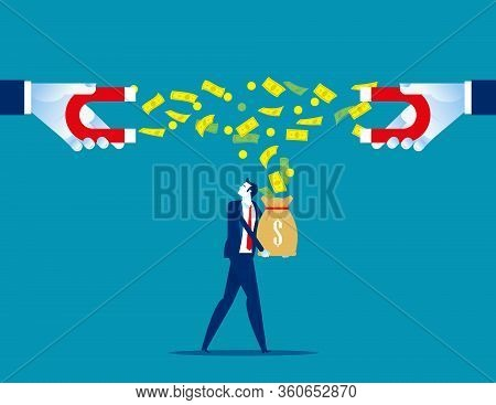 Attracting Money Bag Of Population. Concept Social Financial Vector, Government Marketing, Share Of