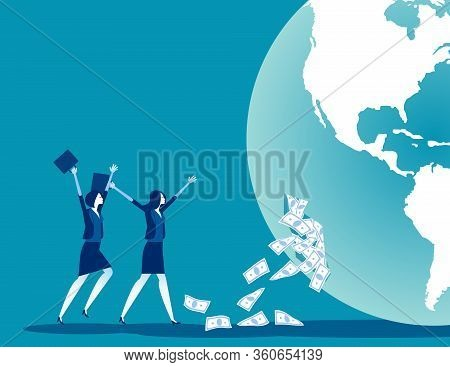 Investor And Source Of Funds. Concept Business Financial Vector Illustration, Team Receive Funding