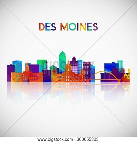 Des Moines Skyline Silhouette In Colorful Geometric Style. Symbol For Your Design. Vector Illustrati