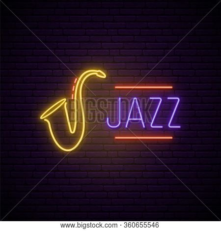 Jazz Music Neon Sign. Bright Night Signboard For Bar, Cafe, Restaurant. Bright Emblem For Jazz Music