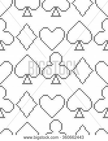 Card Suits, Diamonds, Spades, Hearts, Clubs. Geometric Background. Imitation Cross Stitch. Seamless