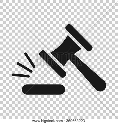 Auction Hammer Icon In Flat Style. Court Sign Vector Illustration On White Isolated Background. Trib