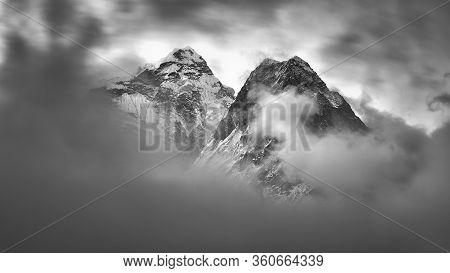 Rocky Mountains Near Village Dingboche, Himalaya, Nepal
