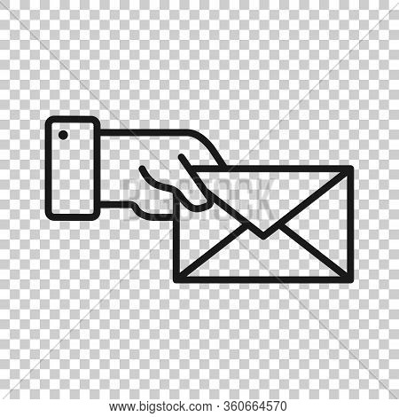Hand With Envelope Icon In Flat Style. Mail Letter Delivery Vector Illustration On White Isolated Ba