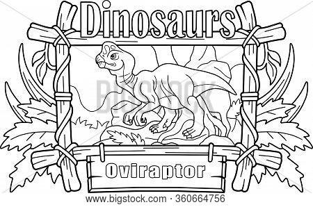 Cartoon Prehistoric Dinosaur Oviraptor, Coloring Book, Funny Illustration