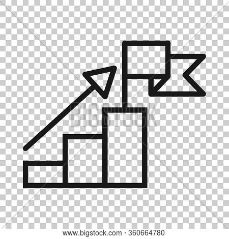 Stair With Finish Flag Icon In Flat Style. Leadership Challenge Vector Illustration On White Backgro