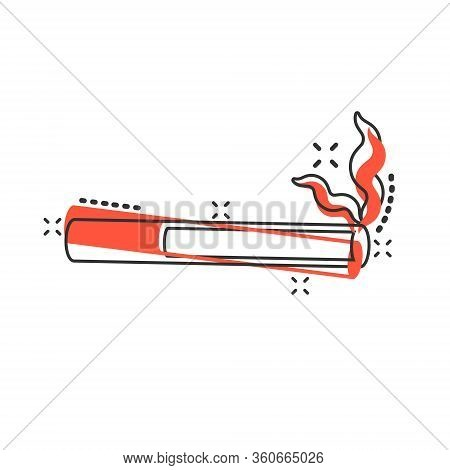 Cigarette Icon In Comic Style. Smoke Cartoon Vector Illustration On White Isolated Background. Nicot