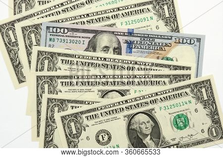 One Hundred Dollar American Bill Of The New Sample Looks Out Of A Number Of Notes In One Dollar