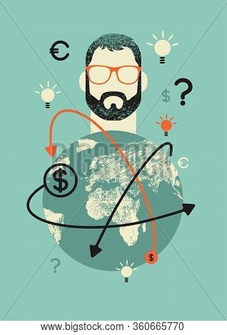 World Online Business Conceptual Retro Poster With Young Hipster Man. Vector Illustration.