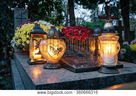 Lanterns On The Grave Devoted To All Souls Day