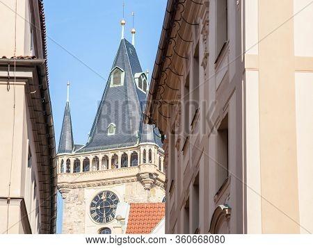 Clock Tower Of Old Town Hall, A Major Landmark Of Prague, Czech Republic, Also Called Staromestska R