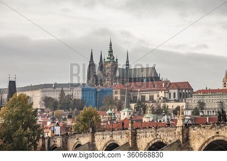 Panorama Of The Old Town Of Prague, Czechia, With Hradcany Hill, Prague Castle,st Vitus Cathedral (p