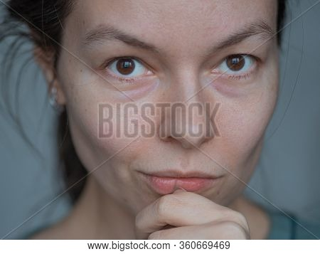 Young Woman Over 30 Years Old, Natural Beauty, Mature Skin Without Makeup And Retouching, Super Clos
