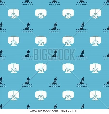 Set Floating Buoy On The Sea And Diving Mask On Seamless Pattern. Vector