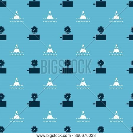 Set Gauge Scale And Floating Buoy On The Sea On Seamless Pattern. Vector