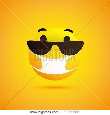 Surprised Emoticon With Surprised Eyes, Sunglasses And Medical Mask On Yellow Background - Vector De