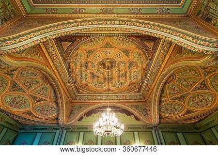 Cairo, Egypt- December 26 2019: Ceiling At Royal Era Historic Manasterly Palace Decorated With Color