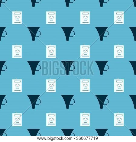 Set Funnel Or Filter And Cookbook On Seamless Pattern. Vector
