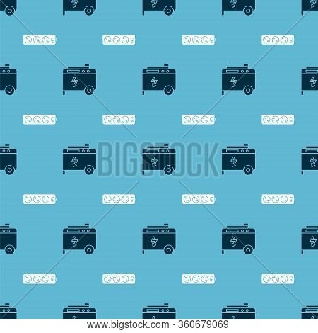 Set Portable Power Electric Generator And Electric Extension Cord On Seamless Pattern. Vector