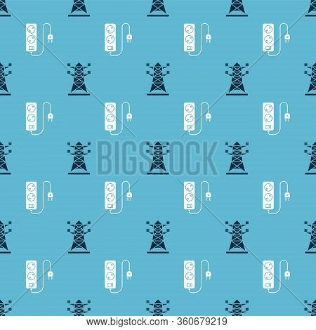 Set High Voltage Power Pole Line And Electric Extension Cord On Seamless Pattern. Vector