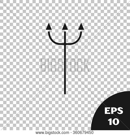 Black Neptune Trident Icon Isolated On Transparent Background. Vector Illustration