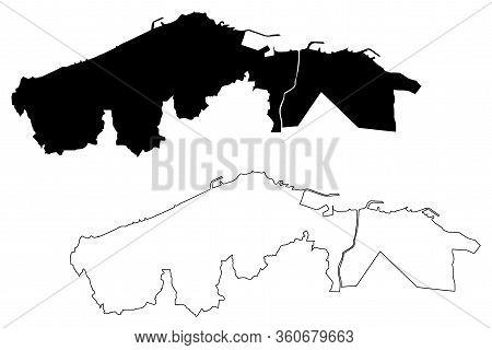 Trabzon City (republic Of Turkey, Black Sea Region) Map Vector Illustration, Scribble Sketch City Of