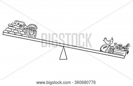 Vector Cartoon Drawing Conceptual Illustration Of Food And Gold On Scales, Food Stock And Farm Is Mo