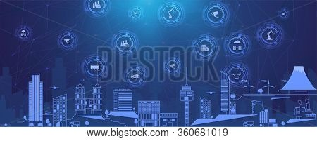 Concept Smart City For Web Page, Banner, Presentation, Social Media. Smart City Concept With Differe
