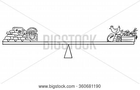 Vector Cartoon Drawing Conceptual Illustration Of Food And Gold On Balance Scales, Food Stock And Fa